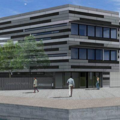 salle de confinement totalement étanche, chantier naval dessiné par architecte Arnaud Sequier à Frejus antibes cannes mandelieu